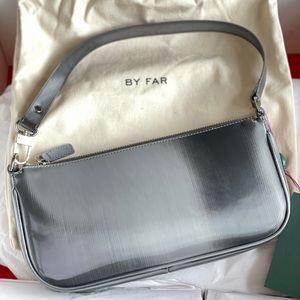 NWT By Far Rachel Graphite Grey Leather Bag